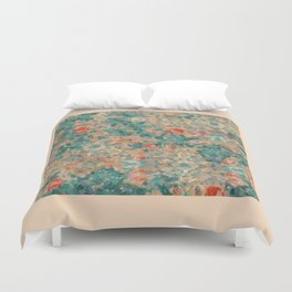 Study in Teal and Peach Duvet Cover