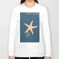 seashell Long Sleeve T-shirts featuring blue seashell by gzm_guvenc
