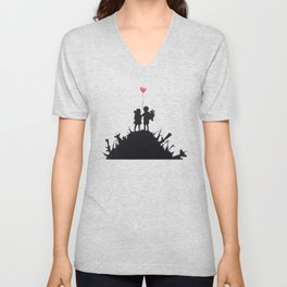 Banksy Two Children With Love Balloon At War Destruction Garbage, Streetart Street Art, Grafitti, Ar Unisex V-Neck