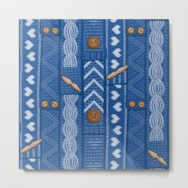 Scarves Knitted Buttoned - Blue Metal Print