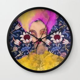 Enchanted Garden Romantic Floral Art Nouveau Watercolor Portrait Wall Clock