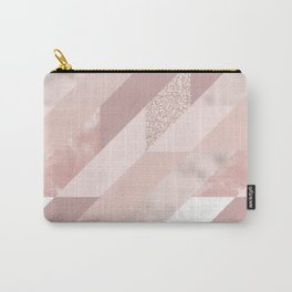 Abstract geometrical blush pink rose gold glitter Carry-All Pouch