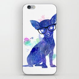 Hipster chihuahua blue edition iPhone Skin