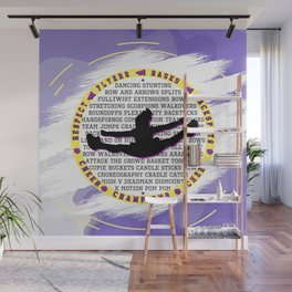 purple yellow cheer with background Wall Mural