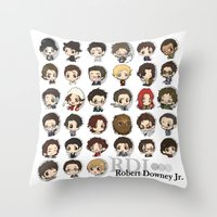 robert downey jr Throw Pillows featuring Robert Downey Jr. by Lady Cibia