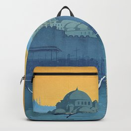 Mid Century Modern Travel Vintage Poster Istanbul Turkey Grand Mosque Backpack