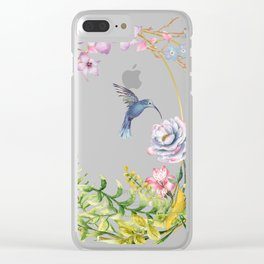 Glittering Golden Floral Hummingbird Terrarium Clear iPhone Case