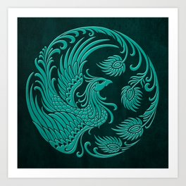 Traditional Teal Blue Chinese Phoenix Circle Art Print