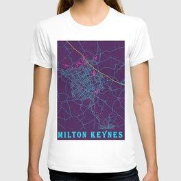 Milton Keynes Neon City Map, Milton Keynes Minimalist City Map Art Print T-shirt