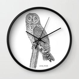 Short-eared Owl on Branch Wall Clock