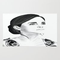 emma watson Area & Throw Rugs featuring Emma Watson by Moira Sweeney