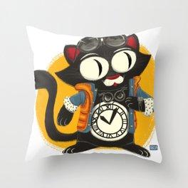 Time Cat Throw Pillow