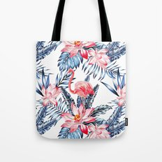 pink flamingo and blue palm leaves pattern Tote Bag