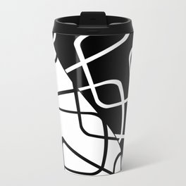 Mid Century Reflections - Black and white abstract Travel Mug