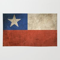 chile Area & Throw Rugs featuring Old and Worn Distressed Vintage Flag of Chile by Jeff Bartels