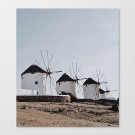Windmills of Kato Milli - Mykonos Canvas Print