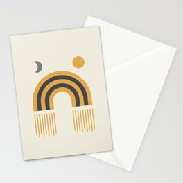 Sun and Moon Rainbow Midcentury style Stationery Cards