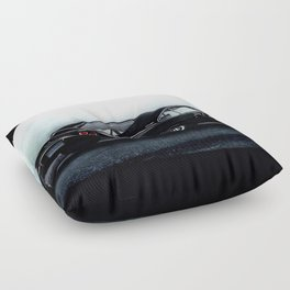 CLASSIC MUSCLE CAR IN BLACK DURING FOG Floor Pillow