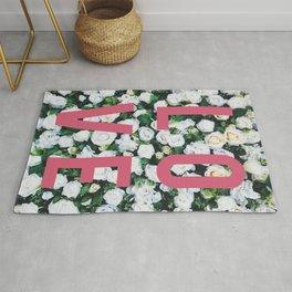LOVE White Rose Floral Poster Rug