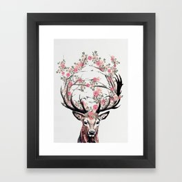 Deer and Flowers Framed Art Print