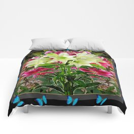 BLUE BUTTERFLIES WHITE LILIES  BLACK FLORAL ART Comforters