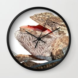 A Chameleon With Open Mouth Isolated Wall Clock