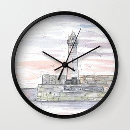 Sunset lighthouse in Donaghadee Wall Clock