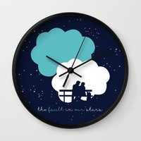 the fault in our stars Wall Clocks featuring The Fault In Our Stars by laurenschroer