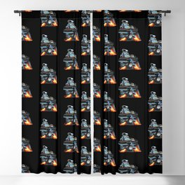 Classic Sixties American Muscle Car Popping a Wheelie Cartoon Illustration Blackout Curtain