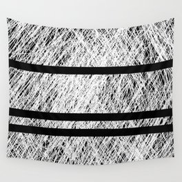 Interrupted Thoughts - Abstract Black And White Wall Tapestry