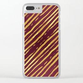 Fuchsia Golden Tiger Stripes Clear iPhone Case