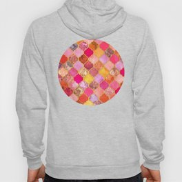 Hot Pink, Gold, Tangerine & Taupe Decorative Moroccan Tile Pattern Hoody