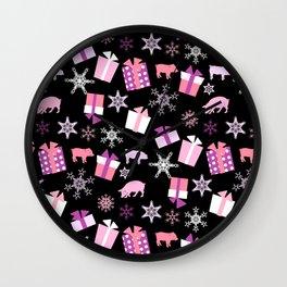 Piggy Pattern Presents Wall Clock