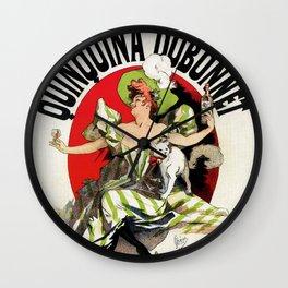 Quinquina Dubonnet woman white cat 1895 Wall Clock