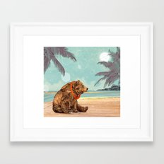 Beach Bear Framed Art Print