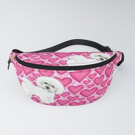 Bichon Frise Valentines Day Hearts in pink and red // Ideal valentines gift for Bichon Mom Fanny Pack