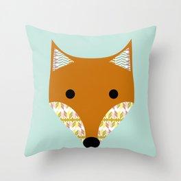 Fox on aqua background Throw Pillow