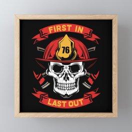 Fire Fighter - Firefighter Skull - First Framed Mini Art Print