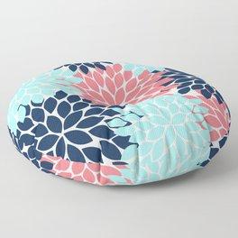 Navy Coral Aqua Floral Pattern Flower Burst Petals Floor Pillow