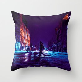 snowy nights on the uOttawa campus Throw Pillow