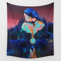 moonrise Wall Tapestries featuring Moonrise by nataliekarina