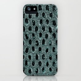 Watercolour Blackwork: 'Lozenge' Burnt Turquoise 1 (dark) iPhone Case