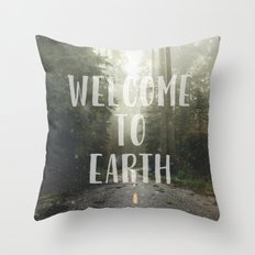 Forest Fog WELCOME TO EARTH - Redwood National Park Trees California Wanderlust Travel Foggy Tree Throw Pillow
