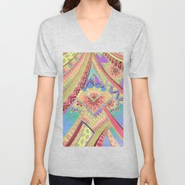 Rise and Shine - Rainbow Hued, Multi-Colored Doodle Unisex V-Neck