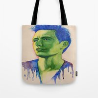 james franco Tote Bags featuring James Franco by Kristy Holding