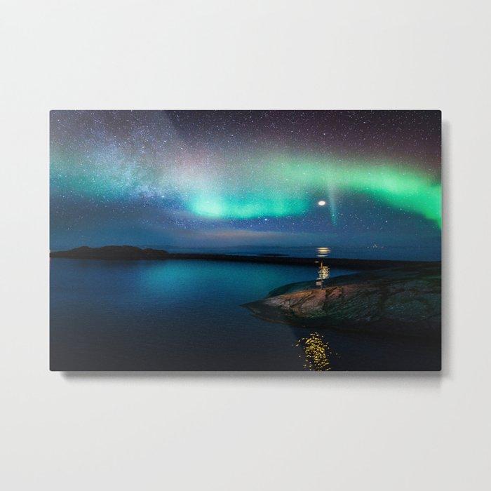 Aurora Borealis Over Coastal Waters Metal Print
