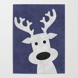Christmas reindeer blue marble Poster