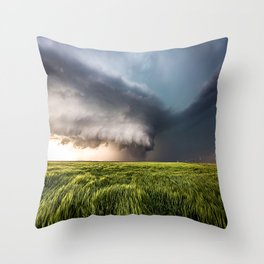 Leoti's Masterpiece - Incredible Storm in Western Kansas Throw Pillow