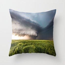 Leoti's Masterpiece - Incredible Storm in Western Kansas Throw Pillow