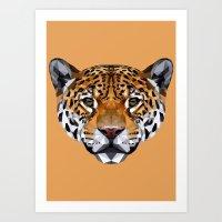 jaguar Art Prints featuring Jaguar by peachandguava